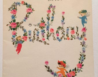 Vintage Birthday Card Whimsical Flower Fairies Unused 1950s