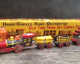 Hand-Carved Hand-Decorated Old TIme Train Set Candle Holders-1962 Vintage Birthday