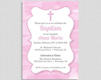 Pink Baptism Invitation,  Baby Girl Baptism Invite, Watercolor Pink and Grey, Christian Baptism Invite, Girl Christening, DIY PRINTABLE