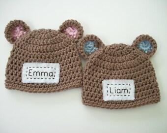 Monogram Baby Hat, Baby Announcement, Personalized Hat, Monogram Bear Hat, Newborn Photo Prop, Crochet Baby Hat, Baby Shower Gift, Baby Bear