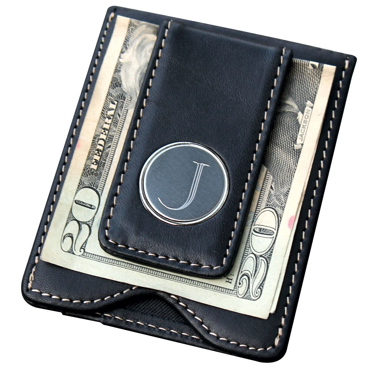 Money Clip with Wallet, Personalized Money Clip Wallet Minimalist, Monogram Money Clip Wallet, Custom Money Clip Wallet, Wallet with Clip