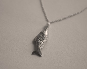 """Necklace with pendant handmade 925 Silver """"fish"""". Pendant Necklace handmade in 925 sterling silver """"Fish""""."""