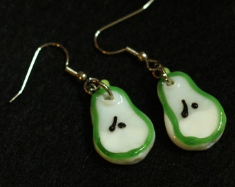 Green Pear Slice Earrings made from Lampwork Glass Beads perfect for your halloween costume or summer party ensemble - Cyber monday Sale