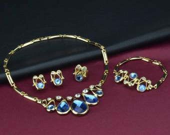 Atlantis Crystal Bridal Jewelry Set, Wedding Jewelry Set, Prom Jewelry set, Wedding earring, Bridal necklace