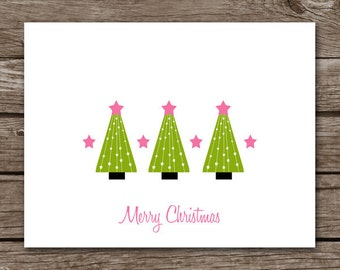 PRINTABLE Christmas Tree Note Cards, Christmas Note Cards, Holiday Note Cards, Personalized Cards