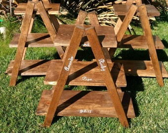 3 tier cupcake, dessert stand with rustic flair  also used for retail display. Can be ordered in various size and colors