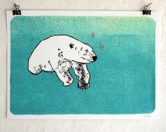 Polar bear - archival fine art print - A4