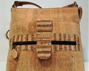 Cork Handbag with Designs - Fine Cork Bag - Cork Purse - Eco-friendly Shoulder Bag - 100% Genuine Natural Cork