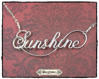 Sterling Silver Word Necklace Personalized Jewelry Custom Word Wire Word Calligraphy necklace Script Word necklace Name Jewelry Silver Name