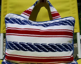 Pillow Beach Pillow Travel Pillow Red White and Blue Stripe