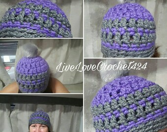Chunky soft yarn Beanie with faux fur pom pom. Purple and grey. Winter hat.
