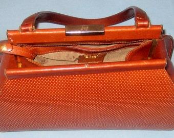 Vintage Monsac Original Satchel Saddle Brown Leather Top Handle Bag.