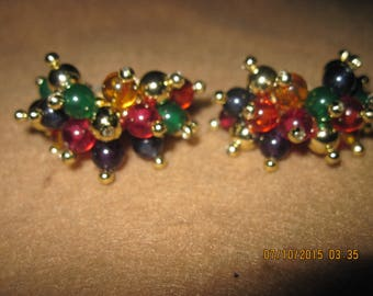 Vintage TOTALLY STUNNING Big & BOLD Acrylic Multi Color Gold Bead Spiky Hoop Style Clip Earrings .. ...7893