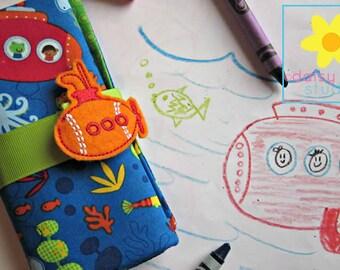 Crayon Roll, Crayon Wallet, Crayon Caddy, Crayon Holder, Crayon Roll Up, Crayon Keeper, Crayon Organizer, Crayon Tote, Under the Sea