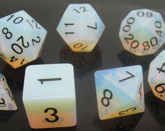 Opalite Gemstone Polyhedral Dice Set:  Hand Carved with Quality! Full-Sized 16mm. Great for DnD RPG Dungeons and Dragons