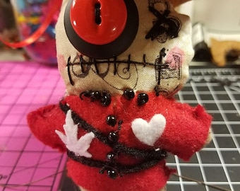 Canadian Mountie Voodoo Doll with Tim Holtz Fabric
