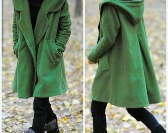 grass green Wool Coat,wool coat with hooded, Wool cape winter coat, coat Winter