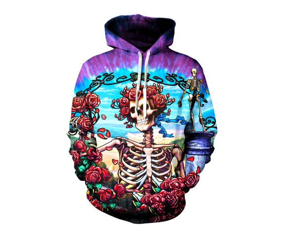 Grateful Dead Hoodie - Trippy Greatful Dead Bertha Hoodies - 60's Hippie  Festival Clothes - Art Hoody - Sublimation Sweatshirt