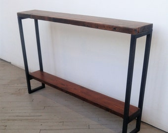Reclaimed Wood Console Table - Lentini Design - Slim Handmade Entryway Table With Shelf