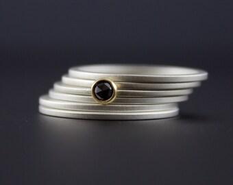 Rose Cut Black Diamond Ring Set - Bezel Set 18 Karat Yellow Gold with Matte Finish Sterling Silver Stacking Rings