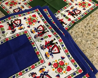 Vintage Decorative Linen cotton Scandinavian german  napkins blue and green floral quanity of 4