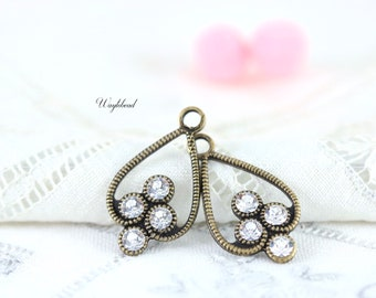 Crystal Clear Antique Brass Filigree Rhinestone Drops Earring Dangles 23x13mm Exquisite Charms Swarovski - 2
