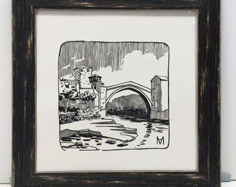 Original engraving hand-print. The Old Bridge. Mostar, Bosnia. Linocut Print. Ink print