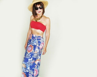 Ralph Lauren Sarong Maxi Beach Skirt, Midi Beach Dress, 80s Vintage Cotton Tribal Skirt, Batik Sarong, Summer Wrap Skirt, American Designer