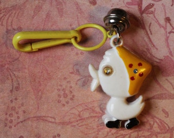 Weinlese Bell Charme weiß gelbe Ente mit Google Augen - Charme-Armband - Halskette - Retro Schlüsselanhänger-Clip - Reißverschluss ziehen Kitsch Kawaii Mini 80er Jahre