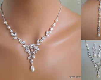 bridal jewelry set, Bridal Necklace, pearl necklace Set, backdrop Necklace, swarovski pearls, cubic zirconia set, crystal necklace, RITA