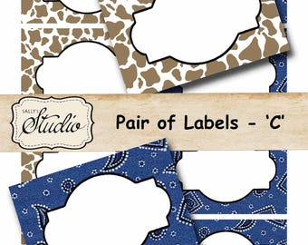Country Western Tags, Jar Labels, Food Labels, Party Labels, Printable Labels, Gift Tags, Frames, Place Cards, Birthday Party, name tags