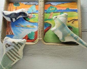 Dinosaur, plushie, stuffed animal, travel toy, pretend play, travel tin, eco friendly toy
