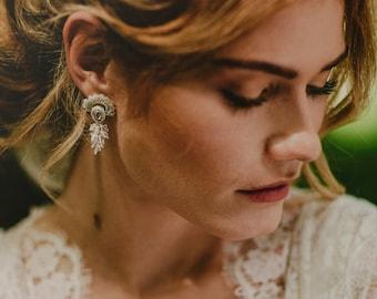 Magical vintage rose bridal earrings, unique Swarovski crystals bridal pink earrings, silver wedding earrings, Crochet unique wedding jewel