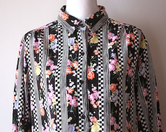 Vintage Secretary Blouse / Vintage Womens Clothing / High Neck Blouse /High Neck Top / Checkerboard Shirt / Floral Shirt / Silky Blouse