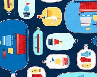 SALE Robert Kaufman Message In A Bottle Nautical Cotton Fabric Ships - 1 Yard