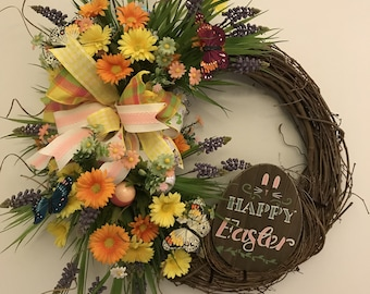 Easter Wreath. Spring Wreath. Front Door Wreath.