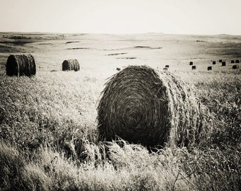 Black & White Field Hay Bales Landscape Home Decor Kansas Field Archival Print Fine Art Photography