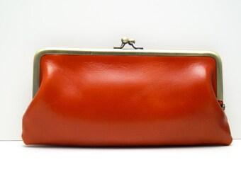"Ladies wallet, womans purse, womans wallet ""Lea"" in camel brown, genuine leather, wallet, purse, portemonnaie in red, handmade, clip purse"