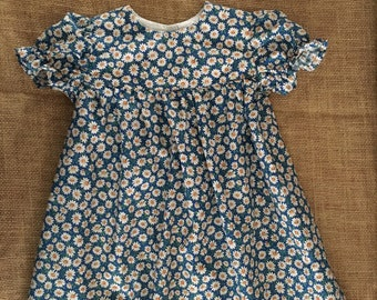 Daisy Prairie Dress | Blue with Daisies | Girls Size 9 - 12m