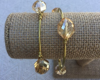 Champagne Crystal Wire-Wrapped Bangle Bracelet