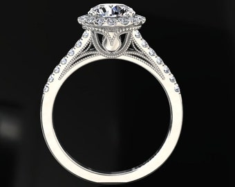 Moissanite Ring Foever One 1.00 Carat Moissanite And Diamond Halo Engagement Ring 14k or 18k White Gold. Matching Band Available W9MOISW