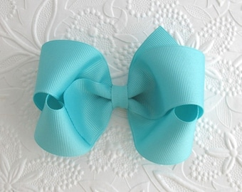 Aqua Hair Bow ~ Toddler Bows ~ Girls Boutique Bows