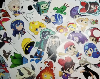 40 Miscut / Misprinted Stickers Lot - Anime and Video Game Character Art Sticker Pack assortment