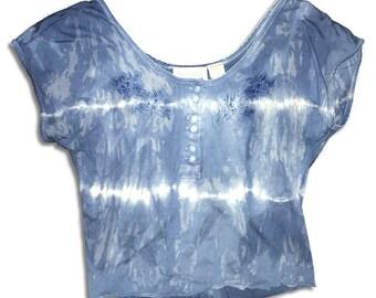 Indigo Tie Dyed Crop Top