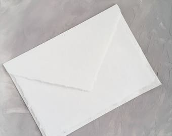 """5.25x7.25 inches  (5.25"""" x 7.25"""") Handmade Cotton Paper Deckle Edge Rag Ungummed Invitation Envelope  150gsm 