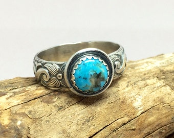 Blue Turquoise Ring - Gemstone Ring - Birthstone Jewelry - 925 Sterling Silver - Turquoise Ring For Women