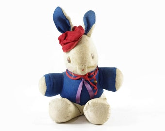Vintage Toy Bunny Rabbit, White Rabbit in Blue Coat, Easter Bunny Decoration