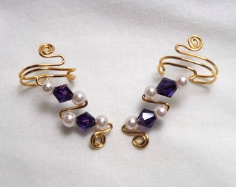 Ear Cuffs, Pearls and Purple Swarovski Crystals, pair, beautiful and simply elegant