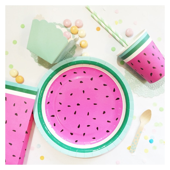 Plates | 9  Watermelon Paper Plates | One In A Melon | Watermelon Party | Quality | Party Plates | Party Supplies | The Party Darling & Plates 9 Watermelon Paper Plates One In A Melon