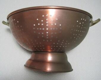 "Copper Colander, 11 1/2"" diameter, Brass Handles, Tin Lined, Vintage"